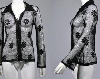 Vtg 1990's MESH Daisy Knit Bell Sleeve Shirt Sm