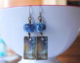 Tree Earrings, Impressionist Earrings, Blue Earrings, Ceramic Earrings, Lampwork Earrings, Woodland Jewelry, Boho Chic Earrings