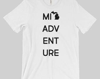 Michigan Adventure Unisex Shirt - Michigan Shirt - Men's Women's Tee - White, Gray - MI, Mitten, U.P. Yooper - Created by Braymont Designs