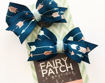 Pigtail bows, navy blue pigtail bows, toddler hair bows, baby hair bows, hair bows set, kids gift, valentine gift for girls, Valentine's Day