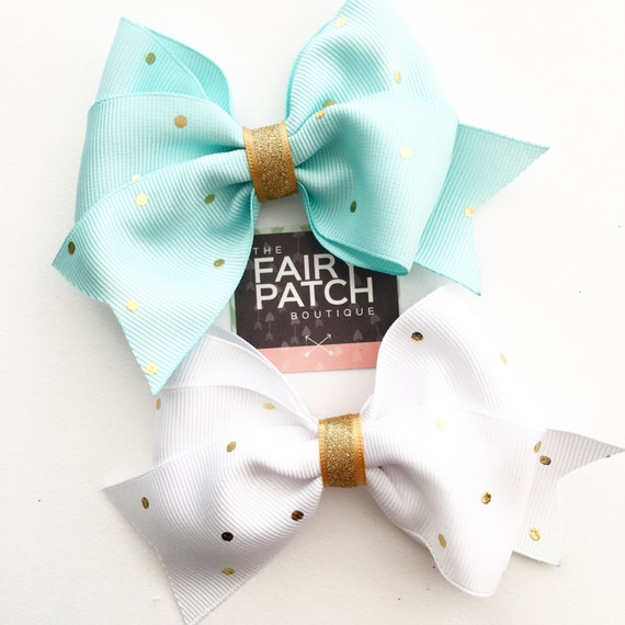 Blue and gold hair bow, white and gold hair bow