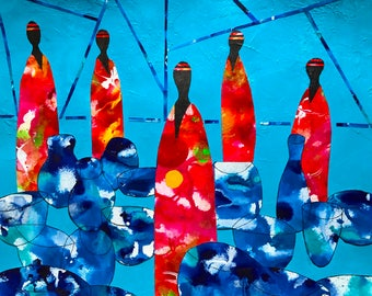 Pots in Abstract - ooak - 18.5 x 16ins (47 x 40cms) Using mostly blues and reds in an abstract composition