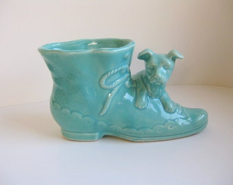 Vintage 1950s Shawnee Pottery dog with shoe planter Blue dog planter
