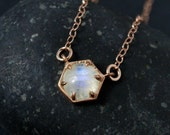 Rose Gold Rainbow Moonstone Hexagon Necklace - Geometric Necklace - Choose Your Setting