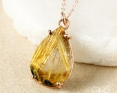 Teardrop Natural Golden Rutile Quartz Pendant Necklace