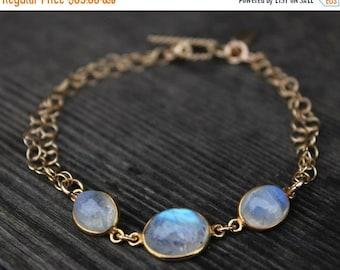 CHRISTMAS SALE Gold Rainbow Moonstone Bracelet - Gemstone Bracelet - June Birthstone, Toggle Bracelet
