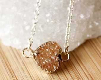 50 OFF SALE Mini Druzy Heart Necklace - Connector, Charm Necklace - Silver or Gold