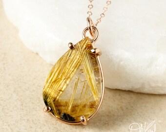 Teardrop Natural Golden Rutile Quartz Pendant Necklace