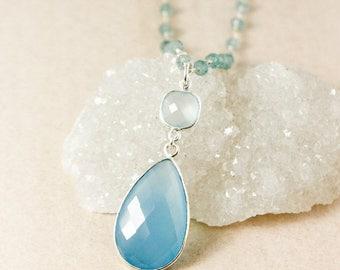 20% OFF SALE Silver Aqua Chalcedony & Blue Chalcedony Teardrop Necklace - Aquamarine Chain - Shades of Blue