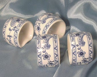 Blue and White Floral Delft-Style Set of 4 Ceramic Napkin Rings