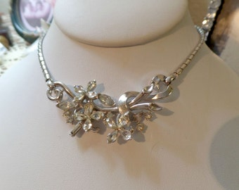 """Gorgrous Vintage Crown Trifari """"Alfred Philippe"""" Design Clear Floral Rhinestone Necklace"""