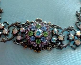 Vintage Signed KENNY MA San Francisco Vintage Style Bracelet AB Rhinestone Flower Wedding Bridal