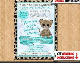Boy Cheetah Baby Shower Invitations boys blue and brown jungle safari theme trendy watercolor Printable Personalized DIGITAL INVITATION #371