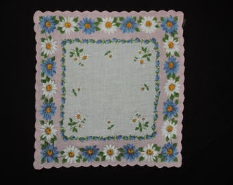 pink daisy handkerchief 1950s blue daisies hanky flower scallop edge cotton square