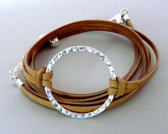 INFINITY Hammered Silver Circle  FLAT Leather Cord - Genuine NATURAL Indian Leather Wrap Bracelet - Custom Triple Wrap Bracelet Usa 225a