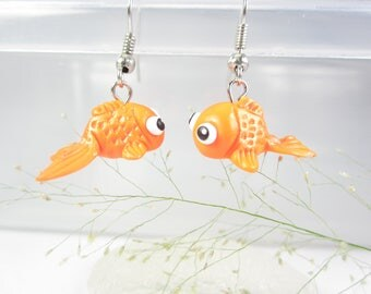 Goldfish Earrings, goldfish jewelry, animal earrings, cute earrings, polymer clay, fish earrings, fish jewelry, funny, unique gift for her