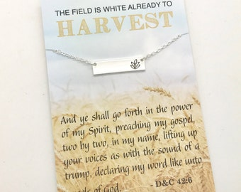 LDS Sister Missionary Gift, Missionary Necklace, Mormon missionary gift, Gold or Silver Bar Necklace with stamped leaf carded jewelry