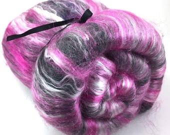 Spinning Fiber - smooth batt - alpaca, silk, firestar - Poddle Skirt- 4 oz