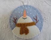 Primitive Snowman Ornament Felt Wool Christmas Decoration Penny Rug Snowflakes
