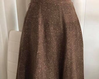 1950's Full Wool Nubby Skirt with Atomic Fleck -- Brown and Peach
