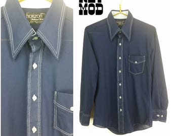 Vintage 70s Navy Blue Button Down Shirt with White Stitching, and Pointy Collar!