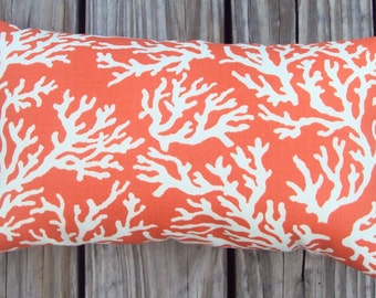 FREE SHIPPING 15x8 Indoor Outdoor Orange and White Coral Print Lumbar Pillow