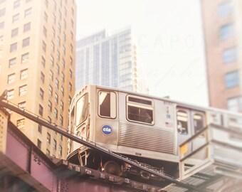 Chicago Photography, Wall Art Prints, Photograph of a Loop Train, CTA Orange Line, L Trains,  Urban Skyline, Home Decor, City Landscape