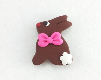 Chocolate Easter Bunny Hair Bow Center - Easter Hair Bow Center - Hair Bow Supplies - Polymer Clay Bow Center - Ready to Ship -173