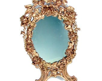 "Vintage EMBOSSED ROSED MIRROR 16"" Cast Iron Frame Copper Ornate Antique"
