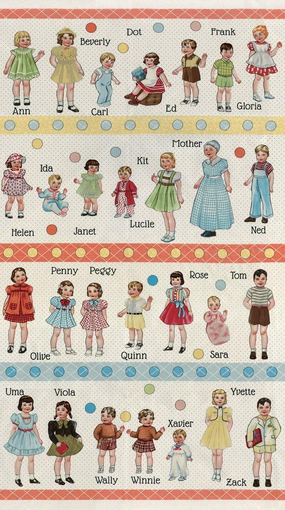Moda fabric hop skip and a jump retro alphabet kids paper for Retro kids fabric