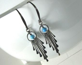Turquoise Earrings, Sterling Silver, Blue Earrings, Long Dangle Earrings, Fringe Earrings, Southwestern Style Turquoise Earrings - Feathers