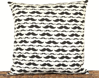 Mustaches Pillow Cover Cushion Black Beige Decorative Gift for Him Man Cave Decor 18x18