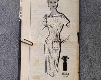 40 bust Vintage 50s Wiggle Dress Pattern