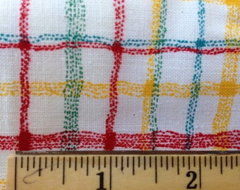 """Vintage 50s Cotton Fabric 1950s 1.5 yards 45"""" x 54"""" white green red yellow plaid check"""