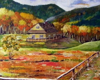 Autumn in Poland - Original Country Landscape Acrylic Painting