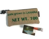 Grown in Lahaina Coffee Pouch with Kukui Nut Pull. Handmade in Hawaii.