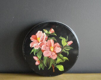 Large Black Floral Biscuit Tin - Round Vintage Tin -  Made in England - MB Container Made in Great Britain