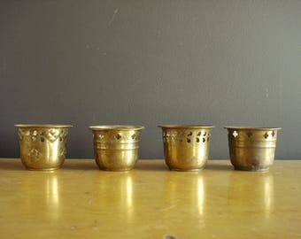 Brass Punch Out Set - Vintage Candle Holders - Set of Four - Brass Clover Raindrop Cross Mini Punch Out Buckets