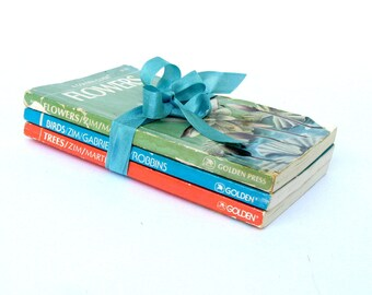 Flowers, Birds, Trees Golden Guide Books Trio Book Stack Bookshelf Ornithology Botany Dendrology, Botanical Book, Homeschooling Books