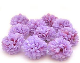 Light Purple Pom Pom Carnations - 25 count - Artificial Flowers, Silk Flowers