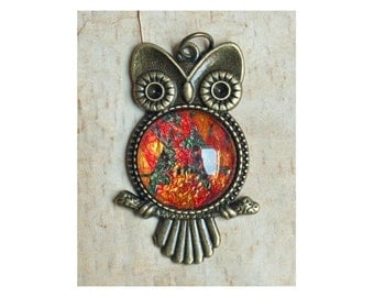 Whimsical Owl Pendant, Brass Setting with Glass Dome Center, Original Digital Art, Gift for Dog Lovers and Owl Collectors