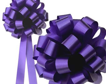6 Purple Wedding Pew Bows Baby Shower Pull Ribbon Markers Church Gift Decorations