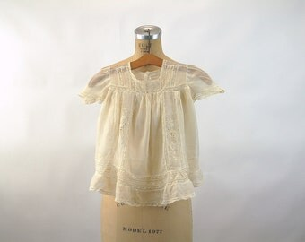 Antique baby dress 1900s  dress and bonnet baptism christening lace inserts embroidery