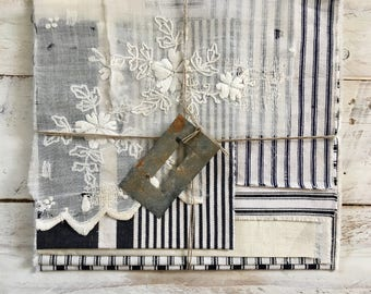 Vintage french ticking scrap bundle