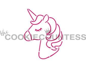 Unicorn Cookie Stencil, Unicorn Sugar Cookie Stencil, Unicorn Fondant Stencil, Unicorn Stencil, Unicorn Airbrush Stencil, Unicorn Party