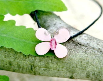 Hula-La Pink Swarovski Crystal & Mother of Pearl Butterfly Necklace