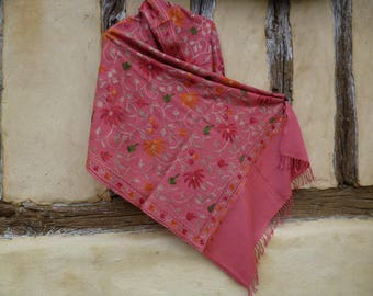 "Gorgeous  Embroidered Kashmir Pashmina. 100%  wool shawl/stole. Salmon Pink.  80 x 20"" 203 cm x 50 cm"