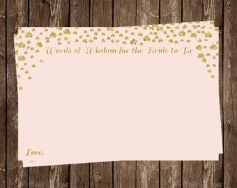 Bridal Shower Advice Cards, Hearts, Wisdom for Wife, Pink, Glitter, Gold, Confetti, 24 Printed Cards, FREE Shipping, Bride to Be, Wedding