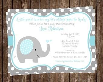 Elephant, Baby Shower Invitations, Sprinkle, Boys, Blue, White, Polka Dots, 10 Printed Invites, FREE Shipping, Little Peanut, Custom. PDEBL