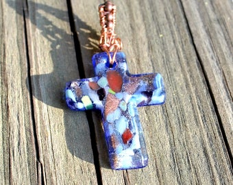 Cross Copper Blue Glass Pendant Handmade Gift for Girl Wife Mother Daughter Birthday Anniversary Religious Jewelry Wire Work Ready to Ship